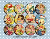 Vintage Nursery Rhymes Pin Back Buttons, Mirrors, Magnets or Key Chains for Party favors, Showers,  Birthday Party Favors, Set of 12