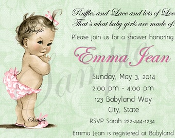 Vintage Baby Shower  Invitation Personalized Digital Download C-536 Sweet Baby Girl Mint Green Floral
