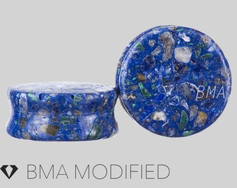 """11/16"""" (18mm) Synthetic Compressed Azurite Plugs"""