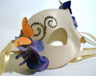 Ivory Leather Mask with Butterfly and Flower Accents
