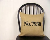 burlap house number pillow cover - embroidered - number pillow - personalized gift - black - number pillow - custom - personaliz