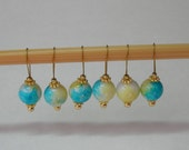 watercolor knitting stitch markers - snag free - glass beads 10mm - set of 6 - two loop sizes available