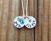 Zeta Tau Alpha Necklace *Petite* Size Sterling Silver - Big Sis / Lil Sis Sorority Jewelry, ZTA Jewelry, Sorority Initiation Gift