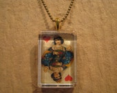 """Antique Playing Card Queen of Hearts Flat Rectangle Glass Pendant with 24"""" Ball Chain Necklace"""