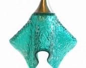 Aqua Blue Pendant Ceiling Light in Textured Fused Art Glass