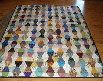 Tumbler Quilt Patchwork Scrappy Traditional Handmade Bedding Lap Quilt