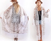 Vtg 70s Taupe+Cream Sheer Lace Tribal Mayan Mexican Fringe Maxi Kimono Boho SML