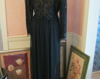 Vintage 70s black silk  lace evening gown, black sequined lace silk dress, size L black formal gown by Lisa Moran Shaker Heights