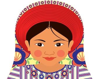 Guatemalan Wall Art Print with culturally traditional dress drawn in a Russian matryoshka nesting doll shape