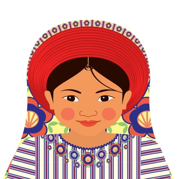 Guatemalan Wall Art Print with culturally traditional dress drawn in a Russian matryoshka nesting doll shape