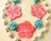 Flower Necklace Turquoise Jewelry Coral Necklace Statement Necklace Beadwork Double Strand Bridesmaid Gift