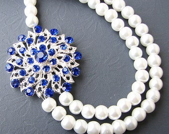 Bridal Jewelry Sapphire Blue Necklace Wedding Jewelry Pearl Bridal Necklace Double Strand Rhinestone Necklace Bridesmaid Gift