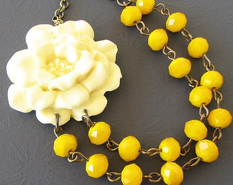 Flower Necklace Beaded Necklace Yellow Jewelry Ivory Statement Necklace Bridesmaid Jewelry Yellow Necklace