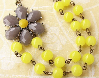 Statement Necklace Bib Necklace Flower Necklace Bridesmaid Jewelry Grey Necklace Yellow Jewelry