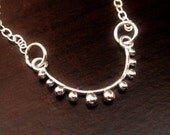 Sterling Silver Curved Bar Connector Link with Graduated Granules, 1 PC, 925 Charms Pendant, 28x13x2.3mm