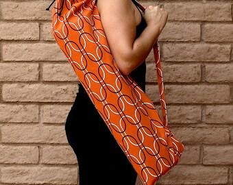 Yoga Mat Bag, Yoga Mat Tote, Yoga Bag, Yoga Tote, Yoga Sling, Yoga Sac, Yoga Sack, orange, Handmade, CITRUS SQUEEZE