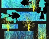 Fish Digital Collage Art Wall Decor Black Blue Yellow Giclee Print Home Decor Nature Trees Woodland Wildlife Lake Texoma 12 x 12