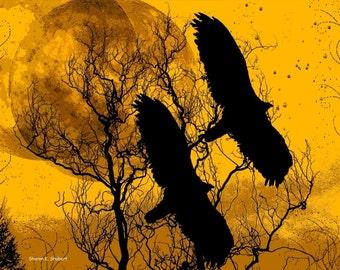 Twin Eagles in Flight Art, Bird Wall Hanging, Magical Surreal Fantasy, Golden Yellow, Digital Wildlife, Wilderness Cabin, Home Decor, 8 x 10