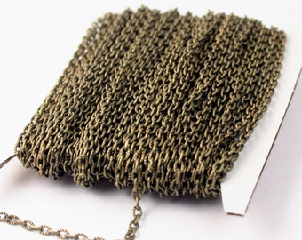 50 ft of VINTAGE style Antique Brass finished Textured Cable Chain - 4X3mm unsoldered link