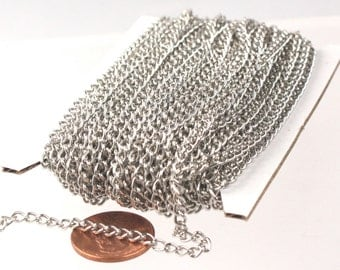 32 ft of Rhodium Plated Curb Chain - 3.0mm 0.8mm Unsoldered Link