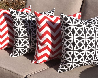 Linked In Black and Chevron Red and White Decorative Outdoor Throw Pillow - Set of 4 - Free shipping