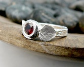 Garnet Ring. Unique Engagement Ring. January Birthstone. Right Hand Ring. Cocktail Ring. Twig Ring. Birch bark Ring. Leaf Ring. Unique Ring
