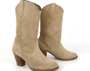 Suede Cowboy Boots Vintage 1980s Tan Bone Cream Women's size 5 1/2