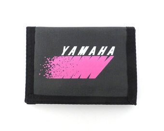 Yamaha Velcro Wallet Vintage 80s 1980s Pink Gray Black Motorcycle Print