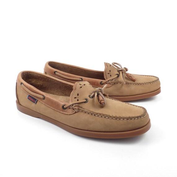 Sebago Boat Shoes Vintage 1980s Tan Brown Docksides Leather