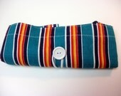 Fold Up Fabric Tote Bag - Shopping Bag - Replaces Plastic Bags - Eco Friendly - Awning Stripe - Teal, Navy, Red, Yellow, White