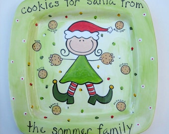 personalized ceramic cookies for santa family platter