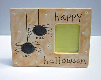 hand painted personalized happy halloween ceramic photo frame with fuzzy spiders