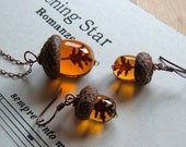 Glass Acorn Necklace and Earring Set in Topaz with Encased Copper Leaves by Bullseyebeads
