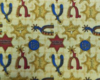 Fabric - Debbie Mumm Round Up Cowboy Fabric Horse Shoes & Badges on Tan 2 7/8 Yards
