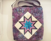 Quilted Handmade Purse Patchwork Star Batik in Purples and Blues