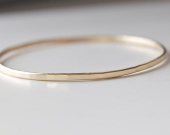 Bangle Bracelet in Gold - Hammered Stacking Bracelet