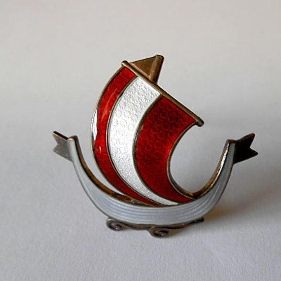 Viking Soapstone Vessel Ask Norway: Vintage Aksel Holmsen Norway Viking Ship Brooch Guilloche