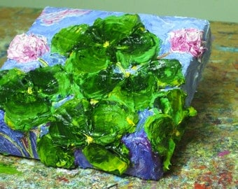 Shamrocks 6x6 Inches Original Impasto Oil Painting by Paris Wyatt Llanso