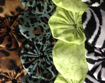 Fabric yoyo puff, Animal print jungle fabrics, 16 pieces, for Scrapbook Embellishment quilt appliqué GARLAND decoration