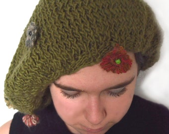 Green Slouchy Hat With Flowers