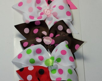 "5 Pack- 2.5"" Everyday Polka Dot Hair Bow Set-Toddler Hair Bow-Kids Bow- Set of 5"