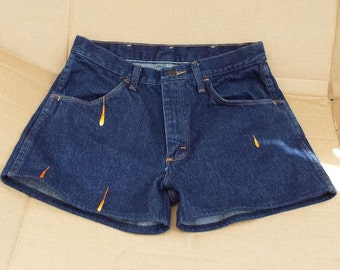 Daisy Dukes, denim cutoff jeans, Neon Splash, Embroidered Rustlers, Resurrected Jeans