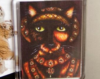Tudor Cat Magnet, Anne of Cleves Tortoiseshell Cat Fridge Magnet