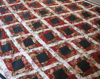 Quilt 69 x 50 in Red White Diamond Floral patchwork