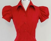 1940's Style Red Blouse