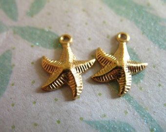 Gold STARFISH Charms Pendants, 14k 14kt Gold Filled Star Fish, 14x10 mm, bridesmaids jewelry ocean sea life critter