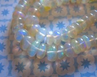 Shop Sale.. 10 25 50 100 pcs, 3-4 or 4-5 mm, ETHIOPIAN Opal Rondelles Wello Welo OPAL Beads, Luxe AAA, Smooth Opal Bead white golden, 34 45