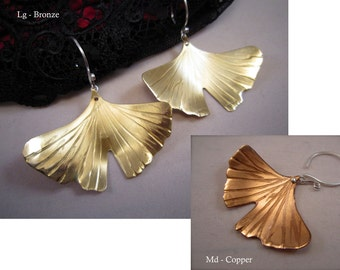 Lg-Sm Textured Ginkgo Leaf Earrings - Satin finish with high shine tips. Copper, Bronze or Sterling