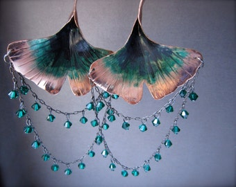 3D long Stemmed Ginkgo Leaf Chandelier in Copper or bronze  - Patina and swarovski