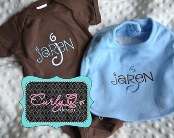 Custom personalized baby gift set - Bib and Bodysuit